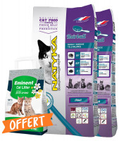 Pack 2 x 12kg NATYKA Chat adulte Hairball + 5 L de litière offerts
