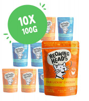 Lot mixte Meowing Heads 10 x 100 g pour chat